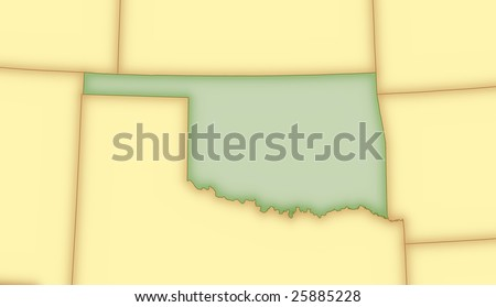 map of wyoming and surrounding states. stock photo : Map of Oklahoma,