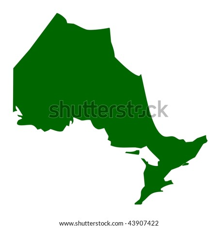 Map of Ontario province or territory in Canada, isolated on white background.