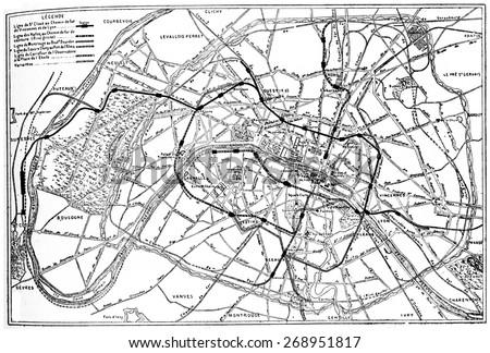 Map of Paris metropolitan railway project, vintage engraved illustration. Industrial encyclopedia E.-O. Lami - 1875.  Foto stock ©