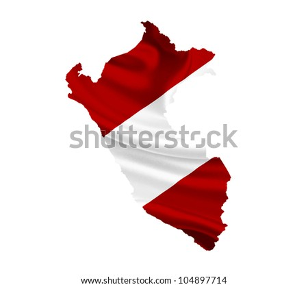 Map of Peru with waving flag isolated on white