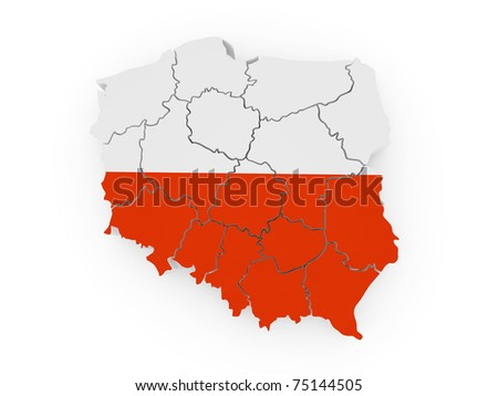 Map of Poland in polish flag colors. 3d