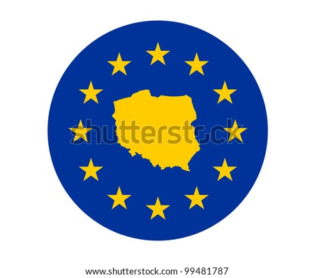 Map of Poland on European Union flag with yellow stars.