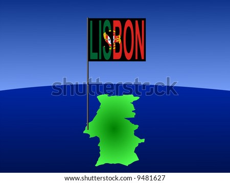 map of Portugal with position of Lisbon marked by flag pole illustration JPG