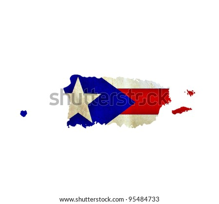 Map of Puerto Rico isolated - stock photo