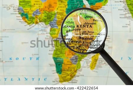 Map of Republic of Kenya through magnigying glass