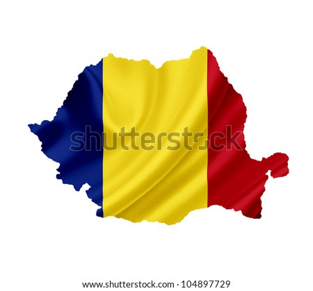 Map of Romania with waving flag isolated on white