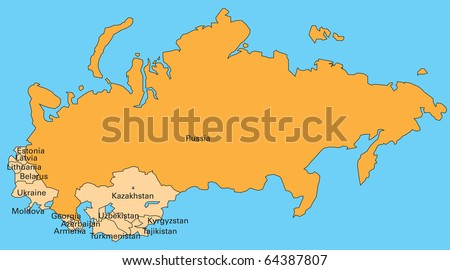 map of russia and former members of soviet union