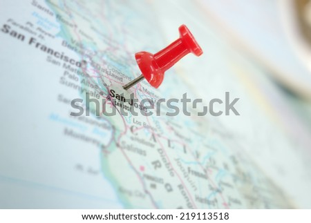 Map of San Jose, Silicon Valley area of California, with red push pin                                #219113518