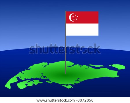 map of Singapore and their flag on pole illustration JPG