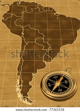 Map of South America on the old background  with compass