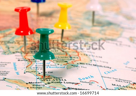 stock photo : Map of South East Asia with pins showing cities locations