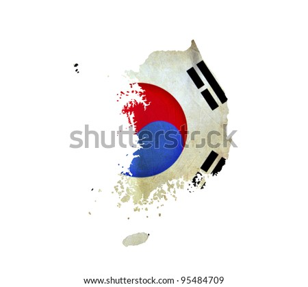Map of South Korea isolated