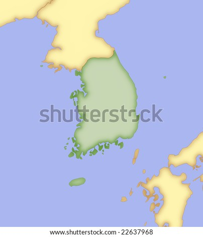 Map of South Korea, with borders of