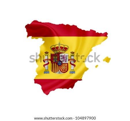 Map of Spain with waving flag isolated on white - stock photo
