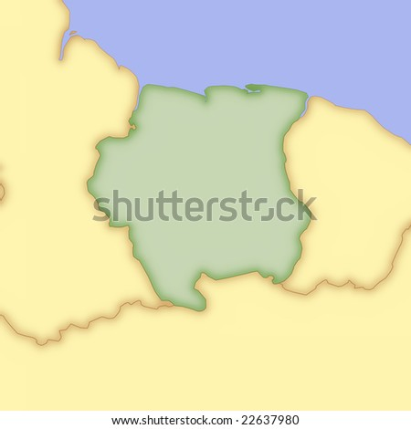 stock photo : Map of Suriname, with borders of surrounding countries.