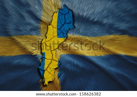 Map of Sweden in National flag colors