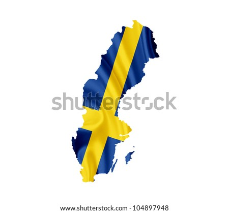 Map of Sweden with waving flag isolated on white