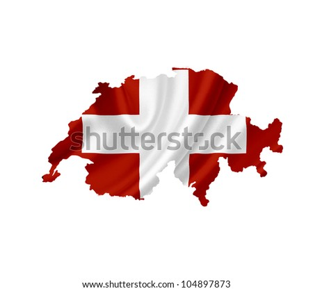 Map of Swiss with waving flag isolated on white