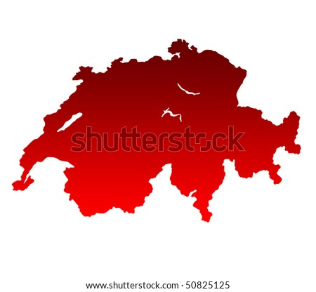 Map of Switzerland in gradient red isolated on white background.