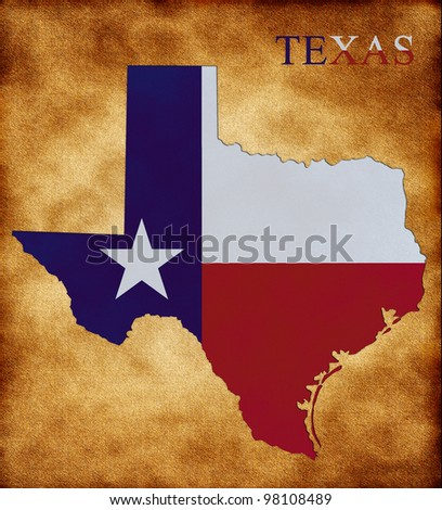 Map of Texas on the old background