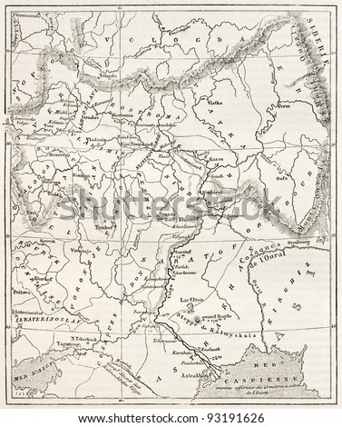Map of the basin of the Volga. By unidentified author, published on Le Tour du Monde, Paris, 1867