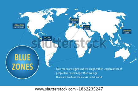 Map of the blue zones of longevity where people live longer than the rest of the world Imagine de stoc ©