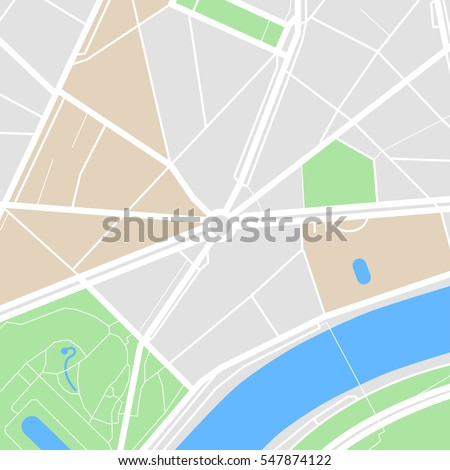 Map of the city with streets, parks and river. Flat design abstract illustration. #547874122
