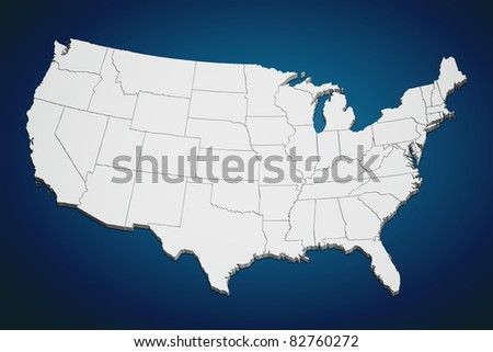 Map of the continental United States on blue background.