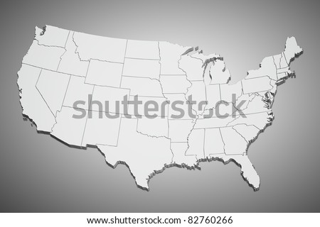 Map of the continental United States on gray background.
