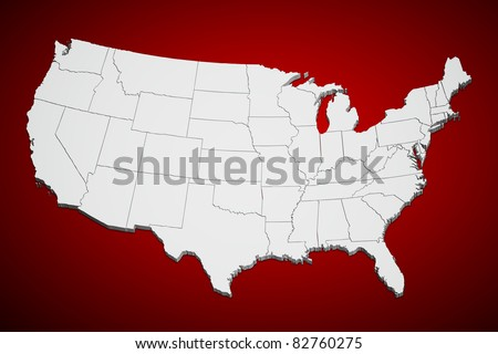 Map of the continental United States on red background.