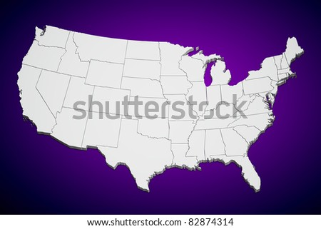 Map of the continental United States purple background.