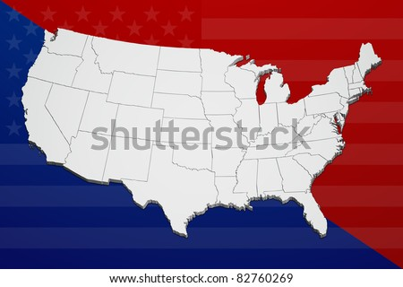 Map of the continental United States reflecting the concept of political division.