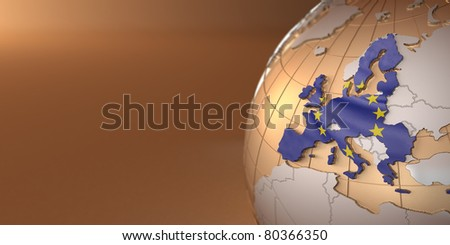 Map of the European Union on Earth. 3d - stock photo