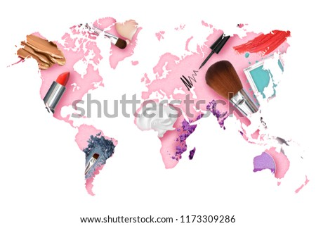 Map of the global cosmetics industries market present the consumer trends on beauty concept background