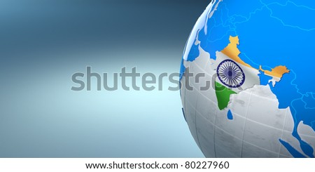Map of the India on Earth in the national colors. 3d - stock photo