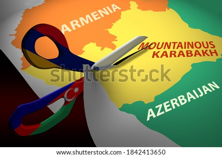 Map of the Republic of Armenia and Azerbaijan between them is Nagorno-Karabakh. Scissors with the flags of Azerbaijan and Armenia, cuts the Republic of Karabakh. 3D rendering.