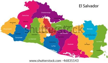 Map of the Republic of El Salvador with the departments colored in bright colors and the main cities