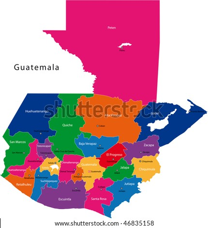 Map of the Republic of Guatemala with the departments colored in bright colors and the main cities