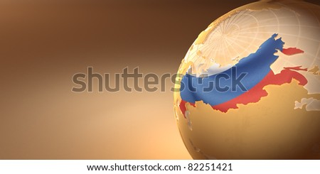 Map of the Russia on Earth in the national colors. 3d