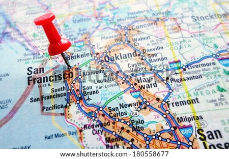 Map of the Silicon Valley section of California - San Francisco and Palo Alto