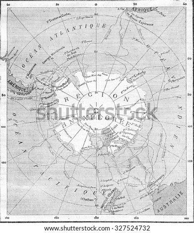 map of the south pole  vintage...