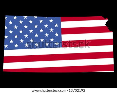 Map of the State of Kansas and American flag JPG