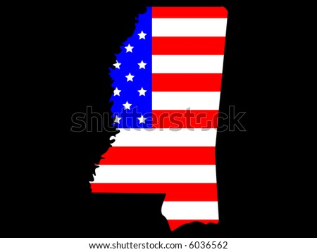 Map of the State of Mississippi and American flag JPG