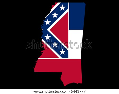 Map of the State of Mississippi and their flag JPG