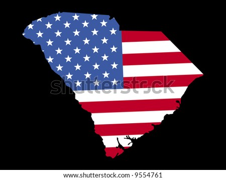 Map of the State of South Carolina and American flag JPG
