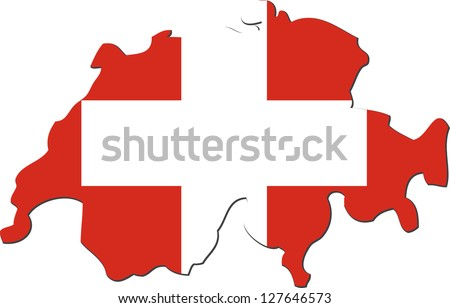 Map of the Swiss Confederation with national flag isolated on white background (raster illustration)