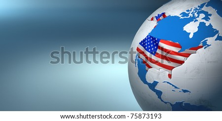 Map of the USA on Earth in the national colors. 3D