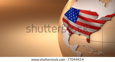 Map of the USA on Earth in the national colors. 3D - stock photo