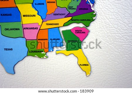Map of the USA, south east
