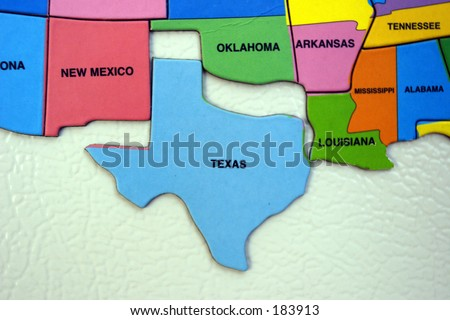 Map of the USA, south west, texas